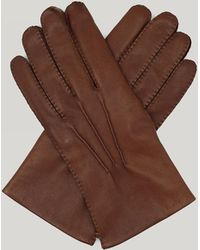Harvie & Hudson - Brown Capeskin Leather Gloves Cashmere Lined - Lyst