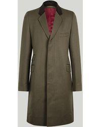 Harvie & Hudson Beige Wool Covert Coat - Natural