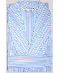 Harvie & Hudson Blue Multi Stripe Lightweight Robe