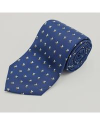 Harvie & Hudson Navy Summer Bee Printed Silk Tie - Blue