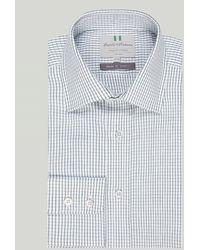 Harvie & Hudson Green Grid Check Button Cuff Classic Shirt
