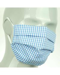 Harvie & Hudson Sky Check Cotton Face Mask - Blue