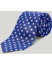 Harvie & Hudson Blue Houndstooth Spot Printed Silk Tie
