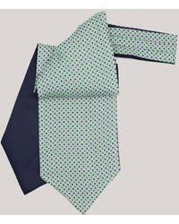 Harvie & Hudson Green Mosiac Printed Silk Cravat