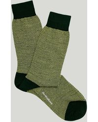 Harvie & Hudson Green Herringbone Wool Sock