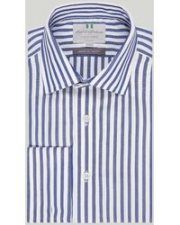 Harvie & Hudson Navy And White Stripe Double Cuff Classic Shirt - Blue