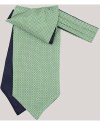Harvie & Hudson Green Daisy Printed Silk Cravat