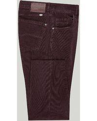 Harvie & Hudson Burgundy Cord Jean - Purple