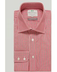 Harvie & Hudson Red Gingham Check Button Cuff Classic Shirt