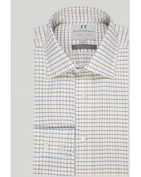 Harvie & Hudson Blue And Brown Country Check Button Cuff Classic Shirt