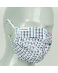 Harvie & Hudson Blue And Pink Check Cotton Face Mask