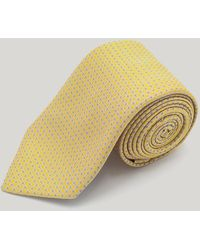 Harvie & Hudson Yellow Mini Circles Woven Silk Tie
