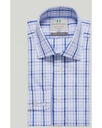Harvie & Hudson Blue And Navy Large Check Button Cuff Classic Shirt