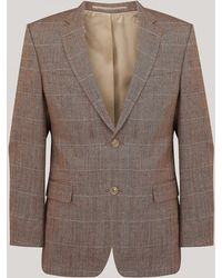 Harvie & Hudson - Tan And Sky Check Jacket - Lyst