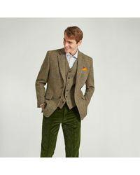 Harvie & Hudson Harris Tweed Olive Green Check Tweed Jacket
