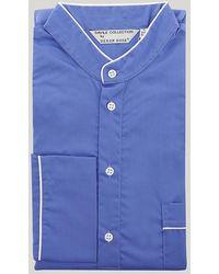 Harvie & Hudson Sax Blue Grandad Collar Nightshirt