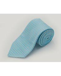 Harvie & Hudson Teal Floral Grid Woven Silk Tie - Green