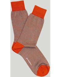 Harvie & Hudson Orange Herringbone Wool Sock