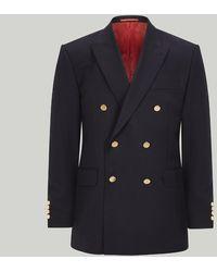 Harvie & Hudson Navy Double Breasted Blazer - Blue