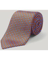 Harvie & Hudson - Orange And Blue Diamonds Printed Silk Tie - Lyst