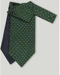Harvie & Hudson Green Dachshund Printed Silk Cravat