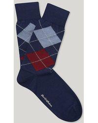 Harvie & Hudson - Marine Red And Sky Merino Wool Argyle Sock - Lyst