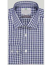 Harvie & Hudson Navy Bold Check Button Cuff Classic Shirt - Blue