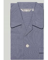 Harvie & Hudson Navy Check Cotton Pyjama - Blue