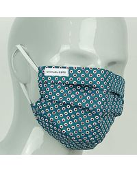 Harvie & Hudson Green And Red Dots Cotton Face Mask - Blue