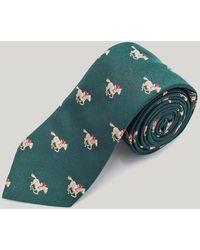 Harvie & Hudson - Green Racehorses Woven Silk Tie - Lyst