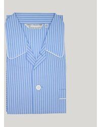 Harvie & Hudson Blue Stripe Cotton Pyjama