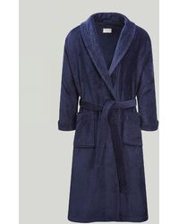 Harvie & Hudson Navy Towelling Robe - Blue