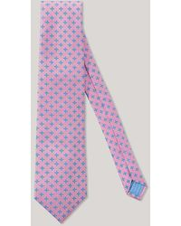 Harvie & Hudson - Pink And Sky Star 100% Silk Woven Tie - Lyst