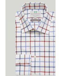 Harvie & Hudson Navy And Red Windowpane Check Button Cuff Classic Shirt - Blue