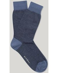 Harvie & Hudson - Jean Blue And Navy Houndstooth Check Sock - Lyst