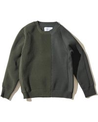 F/CE Left Right Knit Crew - Green
