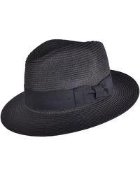 Hats Plus Caps Toyo Straw Fedora Crushable Panama Hat - Black