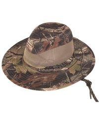 Hats Plus Caps Hawkins Forest Camo Wide Brim Safari Fedora Sun Hat With Chin Strap - Multicolour