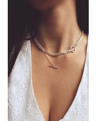 HAUS OF DECK Sterling Silver T-bar Circle Chain Necklace Layering Set - Metallic