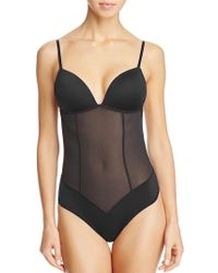 Fine Lines Refined Convertible Low Back Backless Thong Bodysuit - Black