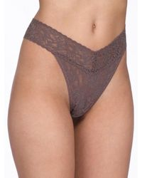 Hanky Panky Sexy Sheer Lace High Rise Thong Knickers - Purple