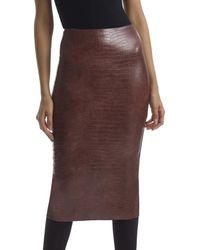 Commando Commado Faux Leather Animal Midi Skirt - Brown