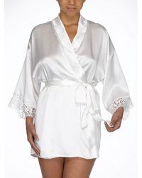 Hanky Panky Ladies Silk Kimono Robe - White