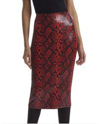 Commando Commado Faux Leather Animal Midi Skirt - Red