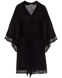 Eberjey Colette Kimono Robe With Lace - Black