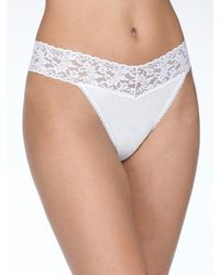 Hanky Panky Organic Cotton High Rise Thong Lace Knickers - White
