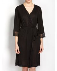 Hanky Panky Stretch Lace Kimono Robe - Black