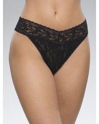 Hanky Panky Sexy Sheer Lace High Rise Thong Panties - Black
