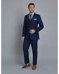 Hawes & Curtis Royal Blue Herringbone Linen Tailored Fit Italian Suit