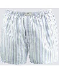 Hawes & Curtis Stripe Cotton Boxer Shorts - Blue